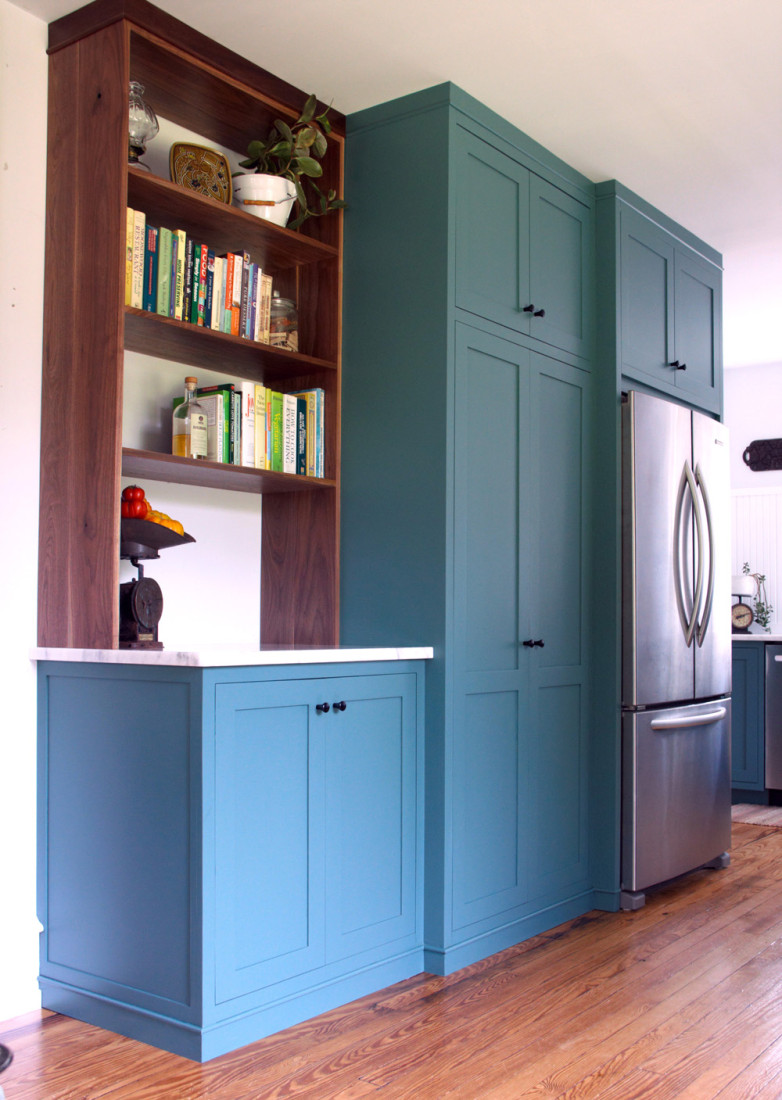 Green verdigris shaker inset cabinets