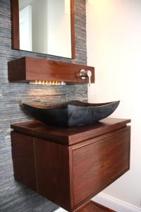 Walnut Shelf Faucet and custom sink drawer
