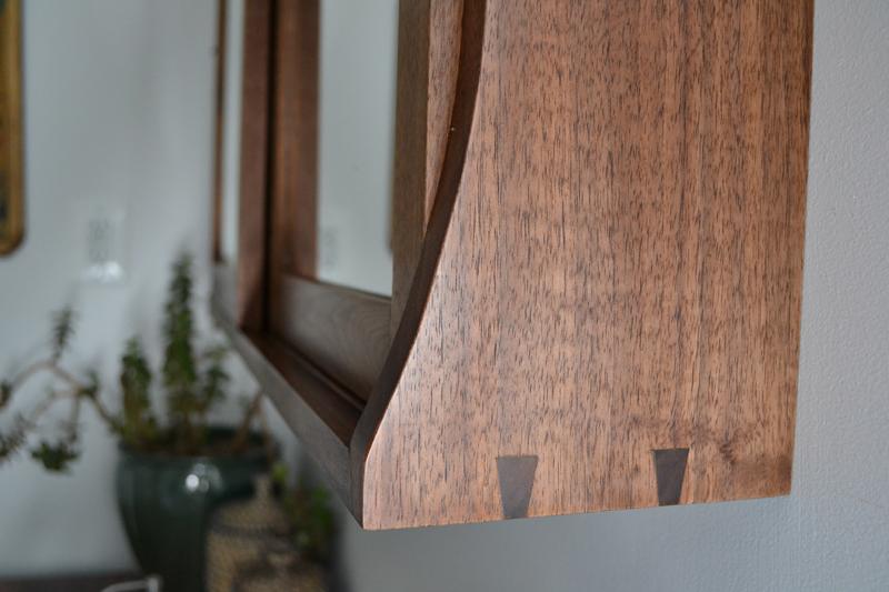 walnut medicine cabinet dovetail detail handmade