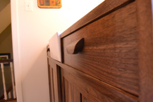 walnut vanity custom pulls