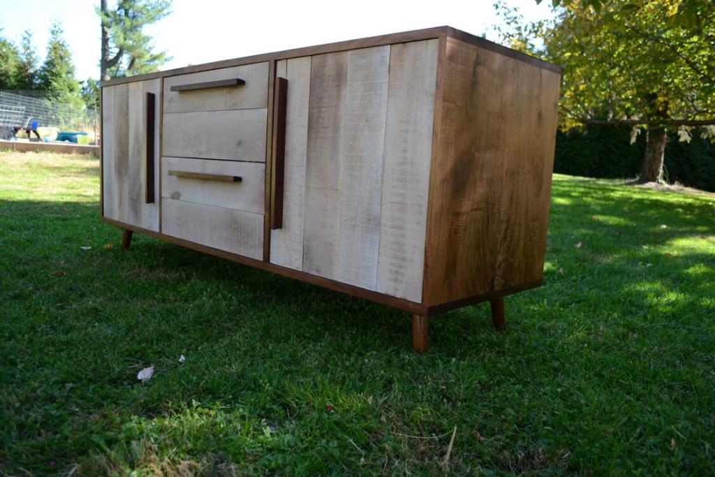A custom walnut media cabinet with grain figure all solid wood. rough doors. danish modern style mccobb legs  www.brasstackshome.com