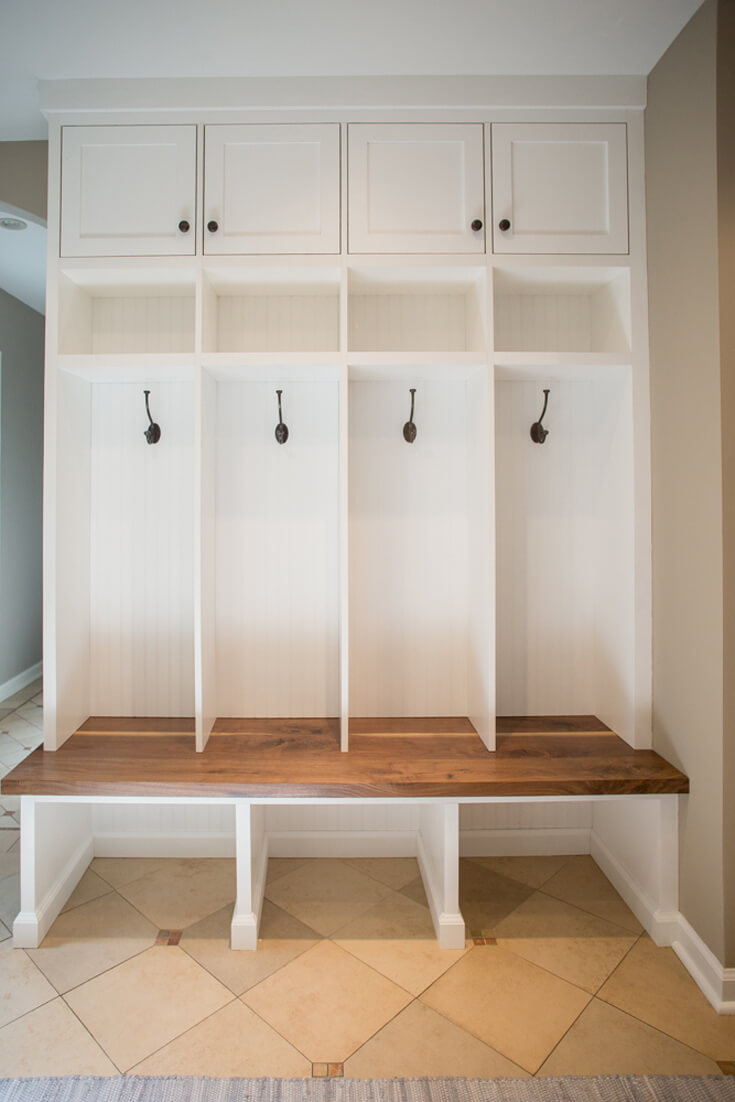 Mudroom-bench-storage-walnut-builtin-shaker-inset