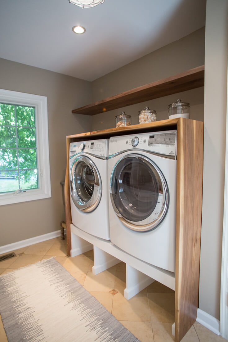Washer-dryer-stand-laundry-Wood-walnut-countertop-waterfall-grain