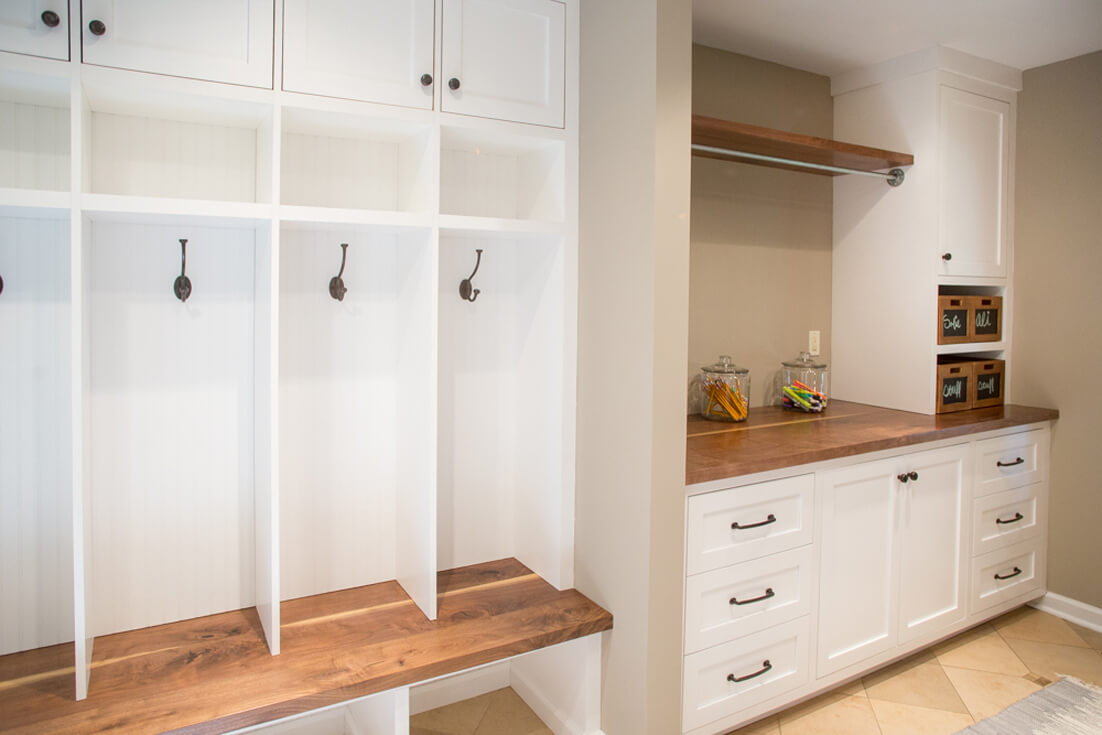 mudroom-builting-storage-shaker-inset-cabinets-walnut-wood-countertop