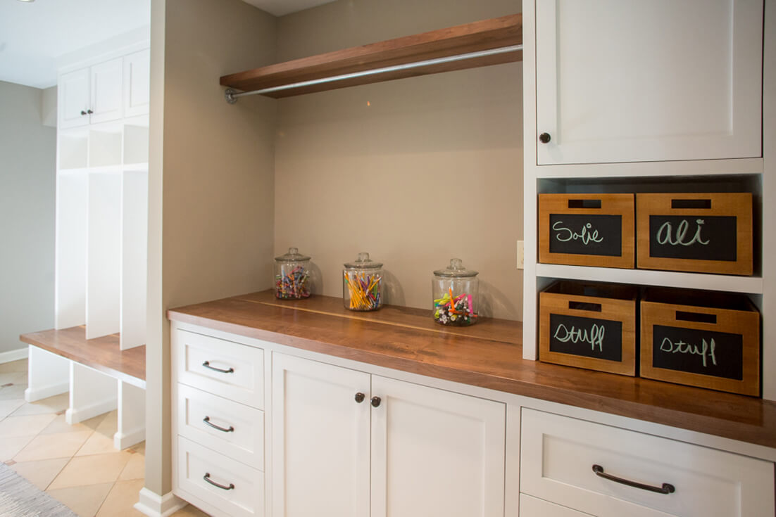 mudroom-laundry-storage-hangerbar-custom-cabinets-inset-walnut-wood-countertop