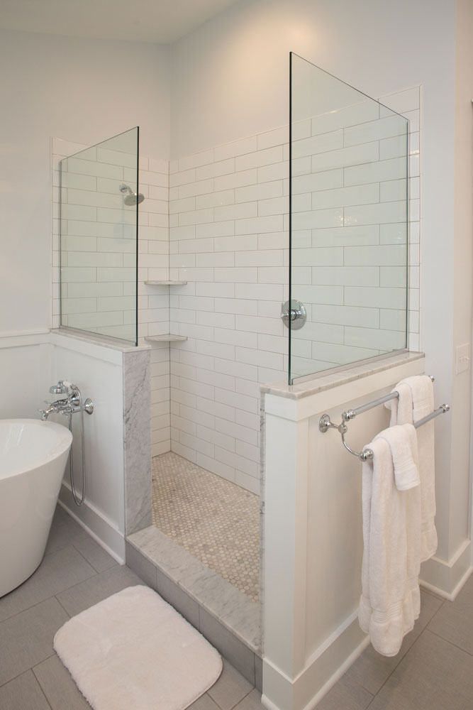 Walkin-walk-in-shower-4x16-subway-tile-white-carrara-marble-hansgrohe-axor-Montreux-phoenixville