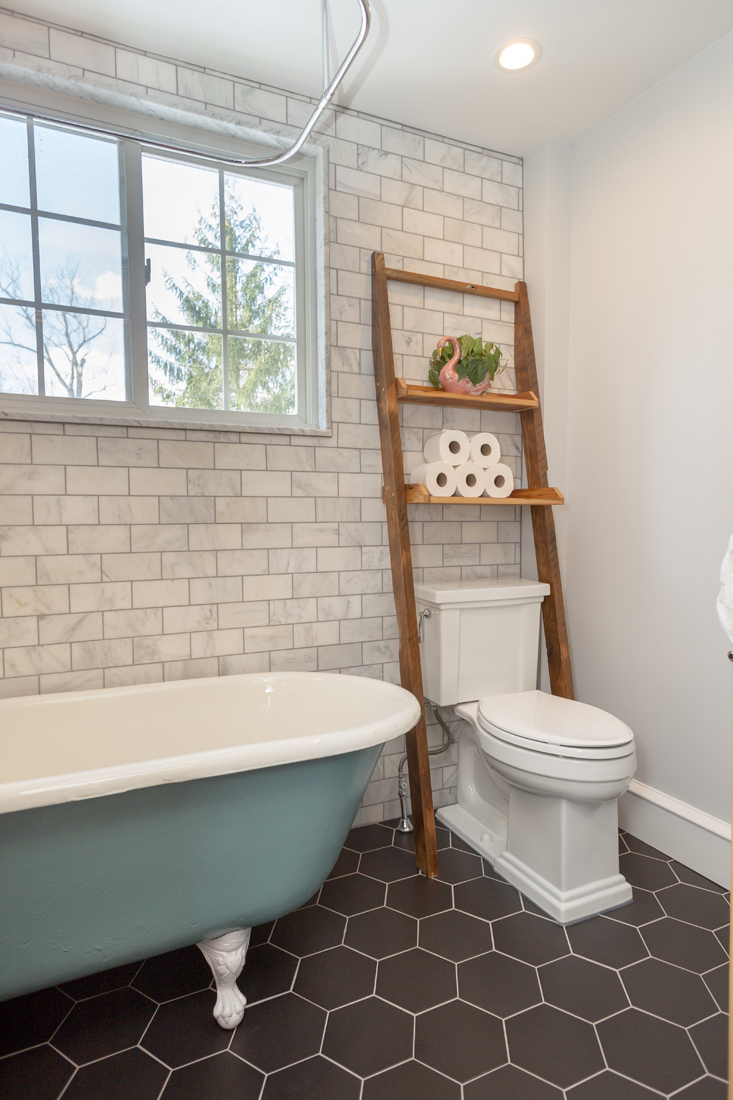 Small-Bathroom-Large-Hex-Tile-Kohler-Tresham-toilet-marble-wall